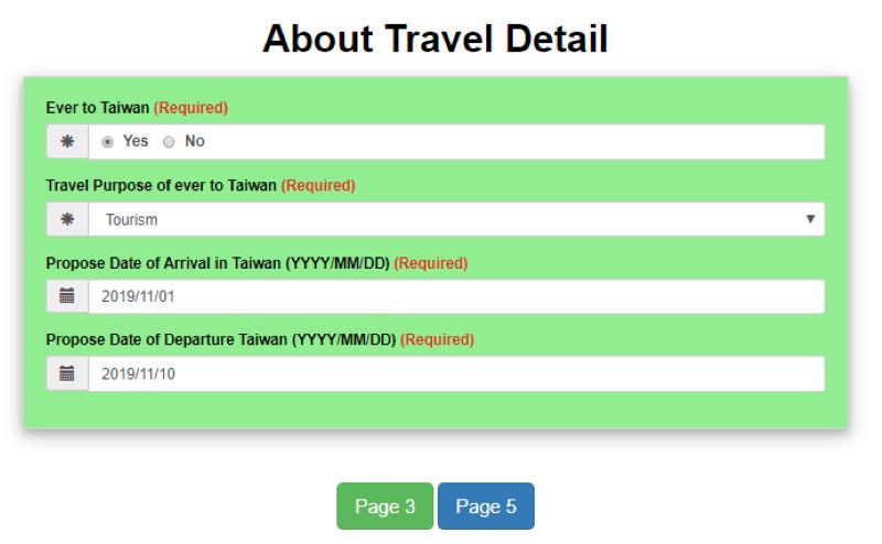 Mẫu điền thông tin chuyến đi khi xin visa Đài Loan