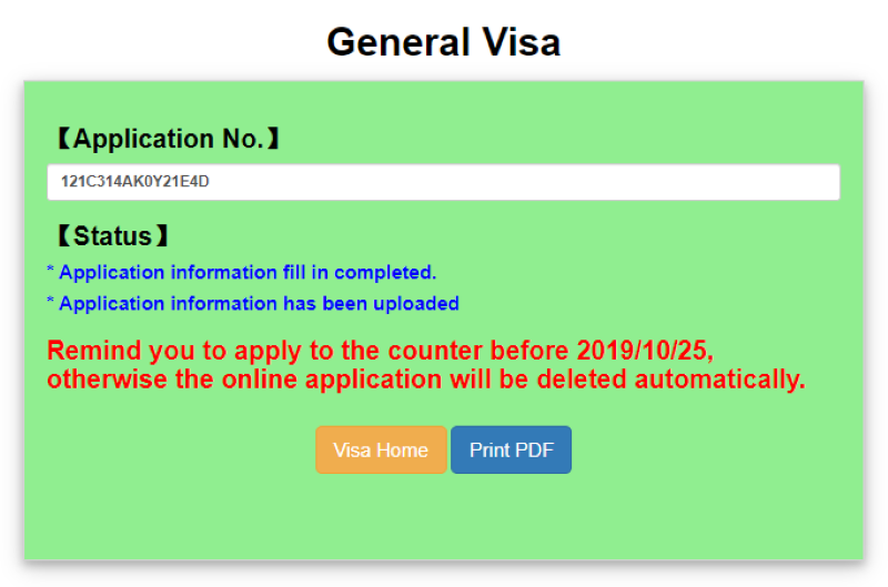 Hoàn thành bảng xin visa Đài Loan